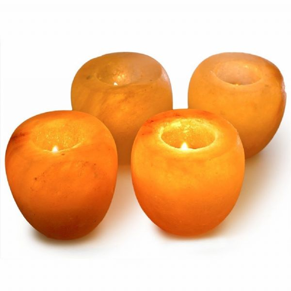 Himalayan Crystal Salt Tea Light Candle Holder x 4 (Apple Shape)